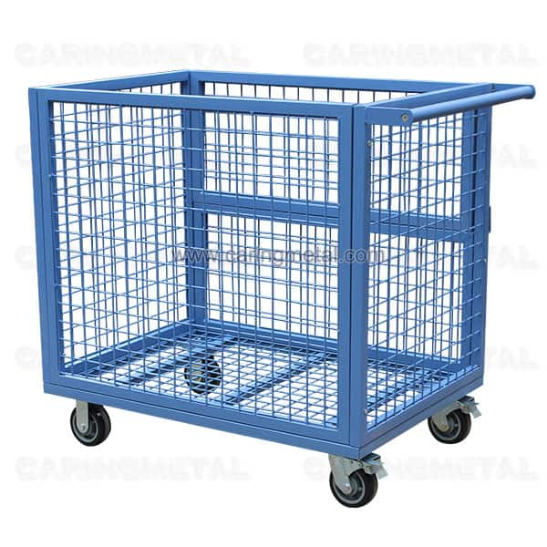 Warehouse cage trolley with hinged side door