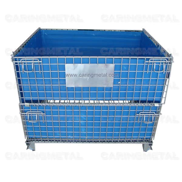 Collapsible wire mesh container with PVC sheet