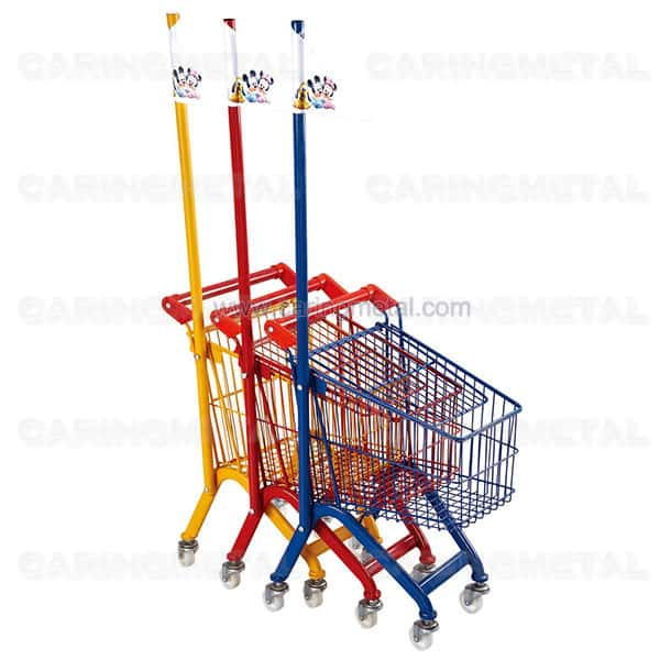 Kids shopping cart with flag